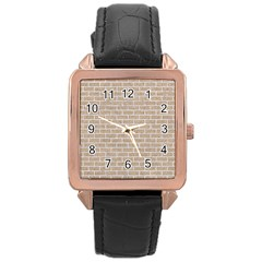 Brick1 White Marble & Sand Rose Gold Leather Watch  by trendistuff