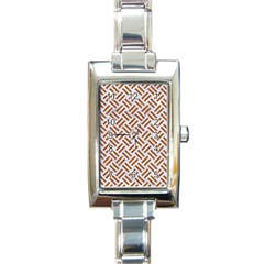 WOVEN2 WHITE MARBLE & RUSTED METAL (R) Rectangle Italian Charm Watch