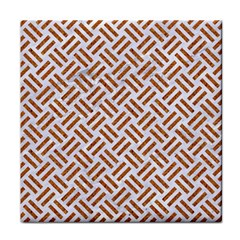 WOVEN2 WHITE MARBLE & RUSTED METAL (R) Tile Coasters