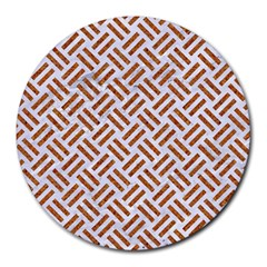 Woven2 White Marble & Rusted Metal (r) Round Mousepads by trendistuff
