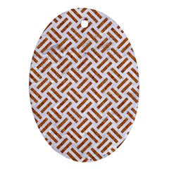 Woven2 White Marble & Rusted Metal (r) Ornament (oval) by trendistuff