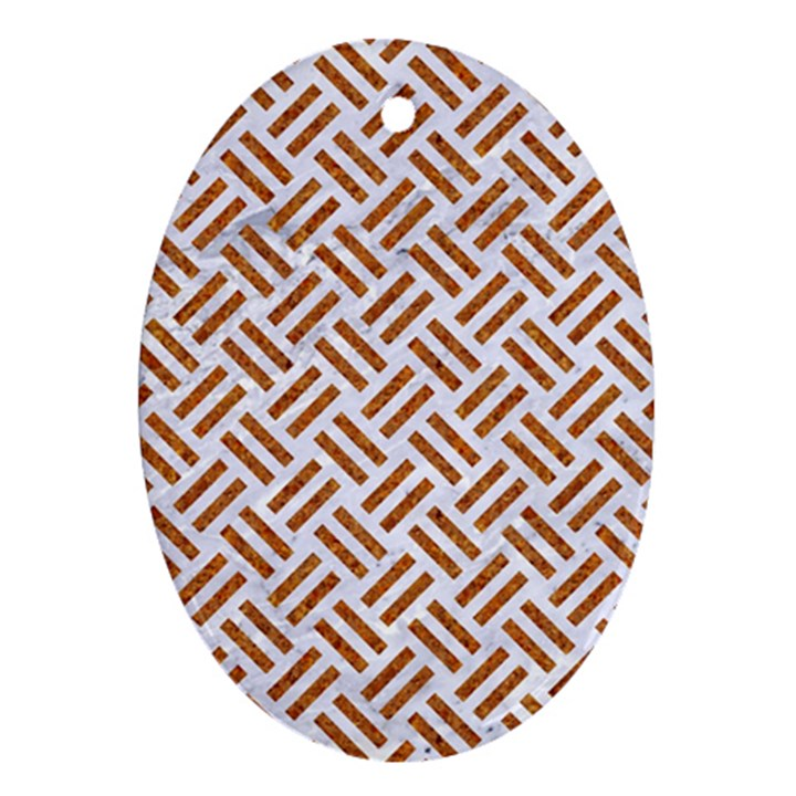 WOVEN2 WHITE MARBLE & RUSTED METAL (R) Ornament (Oval)