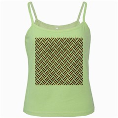 WOVEN2 WHITE MARBLE & RUSTED METAL (R) Green Spaghetti Tank