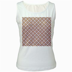 WOVEN2 WHITE MARBLE & RUSTED METAL (R) Women s White Tank Top