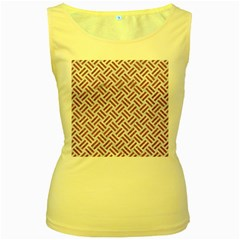 WOVEN2 WHITE MARBLE & RUSTED METAL (R) Women s Yellow Tank Top