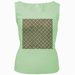 WOVEN2 WHITE MARBLE & RUSTED METAL (R) Women s Green Tank Top