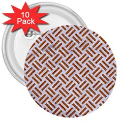 WOVEN2 WHITE MARBLE & RUSTED METAL (R) 3  Buttons (10 pack)