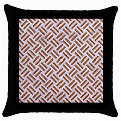 WOVEN2 WHITE MARBLE & RUSTED METAL (R) Throw Pillow Case (Black)