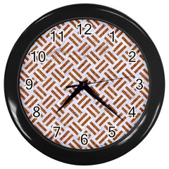 WOVEN2 WHITE MARBLE & RUSTED METAL (R) Wall Clocks (Black)