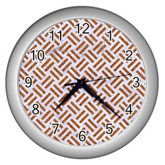 WOVEN2 WHITE MARBLE & RUSTED METAL (R) Wall Clocks (Silver)