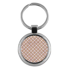 Woven2 White Marble & Rusted Metal (r) Key Chains (round)  by trendistuff