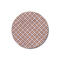 WOVEN2 WHITE MARBLE & RUSTED METAL (R) Rubber Coaster (Round)
