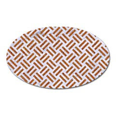 WOVEN2 WHITE MARBLE & RUSTED METAL (R) Oval Magnet