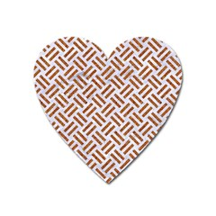 WOVEN2 WHITE MARBLE & RUSTED METAL (R) Heart Magnet