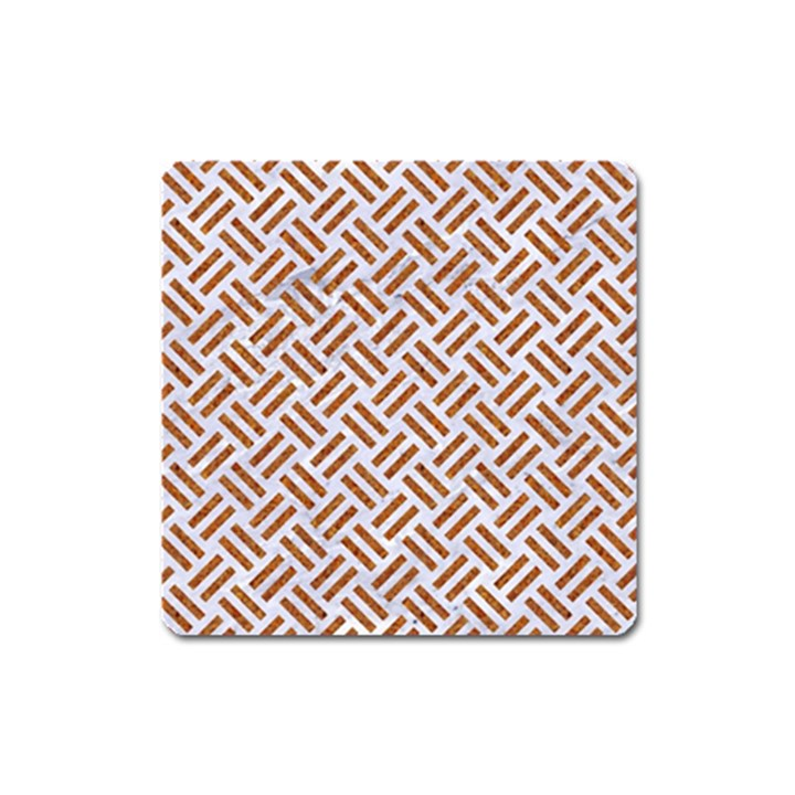WOVEN2 WHITE MARBLE & RUSTED METAL (R) Square Magnet