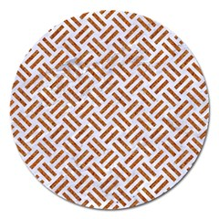 WOVEN2 WHITE MARBLE & RUSTED METAL (R) Magnet 5  (Round)