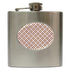 WOVEN2 WHITE MARBLE & RUSTED METAL (R) Hip Flask (6 oz)