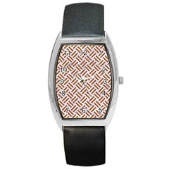 WOVEN2 WHITE MARBLE & RUSTED METAL (R) Barrel Style Metal Watch