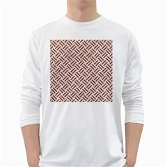 WOVEN2 WHITE MARBLE & RUSTED METAL (R) White Long Sleeve T-Shirts