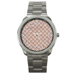 WOVEN2 WHITE MARBLE & RUSTED METAL (R) Sport Metal Watch Front