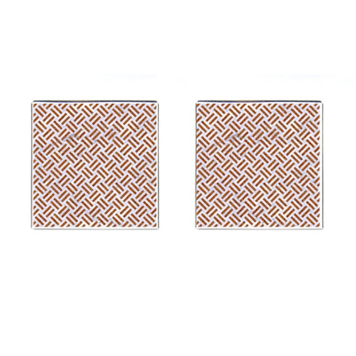 WOVEN2 WHITE MARBLE & RUSTED METAL (R) Cufflinks (Square)