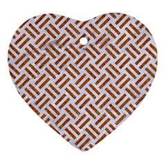 WOVEN2 WHITE MARBLE & RUSTED METAL (R) Heart Ornament (Two Sides)