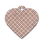 WOVEN2 WHITE MARBLE & RUSTED METAL (R) Dog Tag Heart (Two Sides) Front