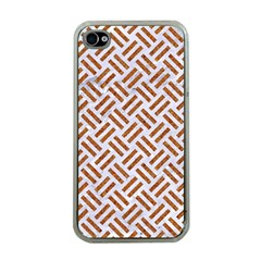 Woven2 White Marble & Rusted Metal (r) Apple Iphone 4 Case (clear) by trendistuff