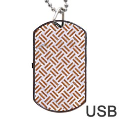 Woven2 White Marble & Rusted Metal (r) Dog Tag Usb Flash (one Side) by trendistuff