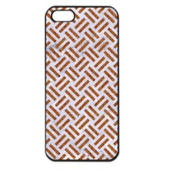 WOVEN2 WHITE MARBLE & RUSTED METAL (R) Apple iPhone 5 Seamless Case (Black)