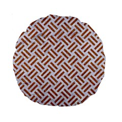 WOVEN2 WHITE MARBLE & RUSTED METAL (R) Standard 15  Premium Round Cushions
