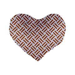 WOVEN2 WHITE MARBLE & RUSTED METAL (R) Standard 16  Premium Heart Shape Cushions