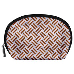 Woven2 White Marble & Rusted Metal (r) Accessory Pouches (large)  by trendistuff