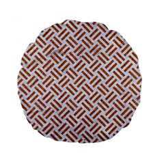 WOVEN2 WHITE MARBLE & RUSTED METAL (R) Standard 15  Premium Flano Round Cushions