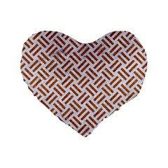 WOVEN2 WHITE MARBLE & RUSTED METAL (R) Standard 16  Premium Flano Heart Shape Cushions