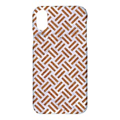 Woven2 White Marble & Rusted Metal (r) Apple Iphone X Hardshell Case by trendistuff
