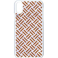 WOVEN2 WHITE MARBLE & RUSTED METAL (R) Apple iPhone X Seamless Case (White)