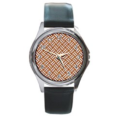 Woven2 White Marble & Rusted Metal Round Metal Watch by trendistuff
