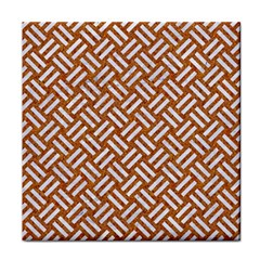 Woven2 White Marble & Rusted Metal Tile Coasters by trendistuff