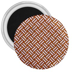 Woven2 White Marble & Rusted Metal 3  Magnets by trendistuff