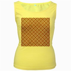 Woven2 White Marble & Rusted Metal Women s Yellow Tank Top