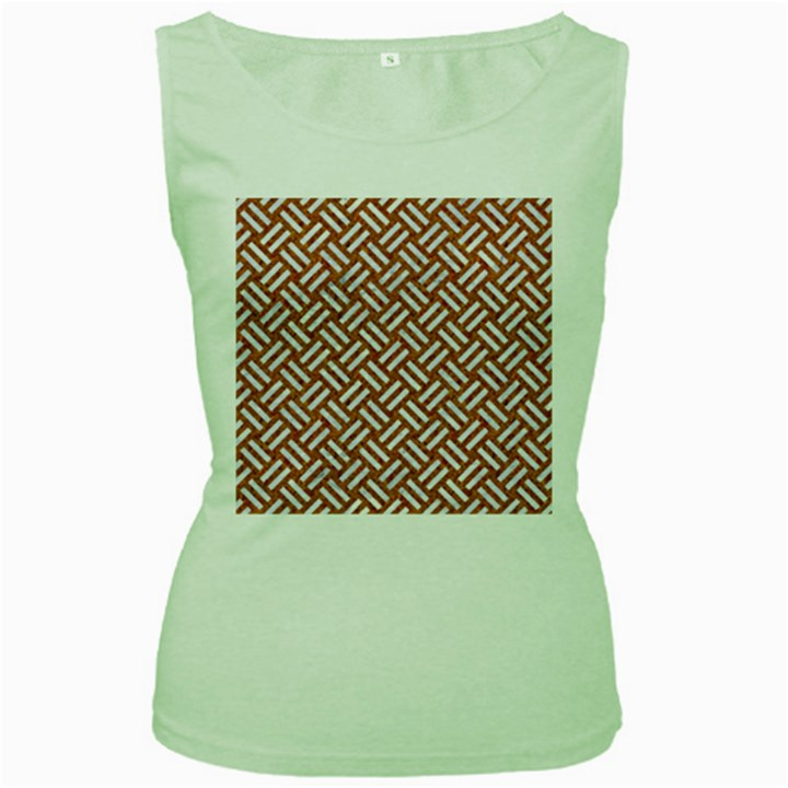 WOVEN2 WHITE MARBLE & RUSTED METAL Women s Green Tank Top