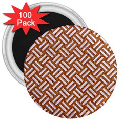 Woven2 White Marble & Rusted Metal 3  Magnets (100 Pack) by trendistuff