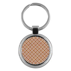 Woven2 White Marble & Rusted Metal Key Chains (round)  by trendistuff