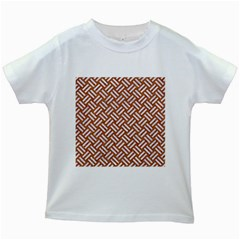 Woven2 White Marble & Rusted Metal Kids White T Shirts by trendistuff