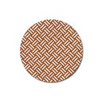 WOVEN2 WHITE MARBLE & RUSTED METAL Magnet 3  (Round) Front