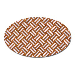 Woven2 White Marble & Rusted Metal Oval Magnet by trendistuff