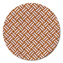 Woven2 White Marble & Rusted Metal Magnet 5  (round) by trendistuff
