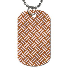 Woven2 White Marble & Rusted Metal Dog Tag (two Sides) by trendistuff