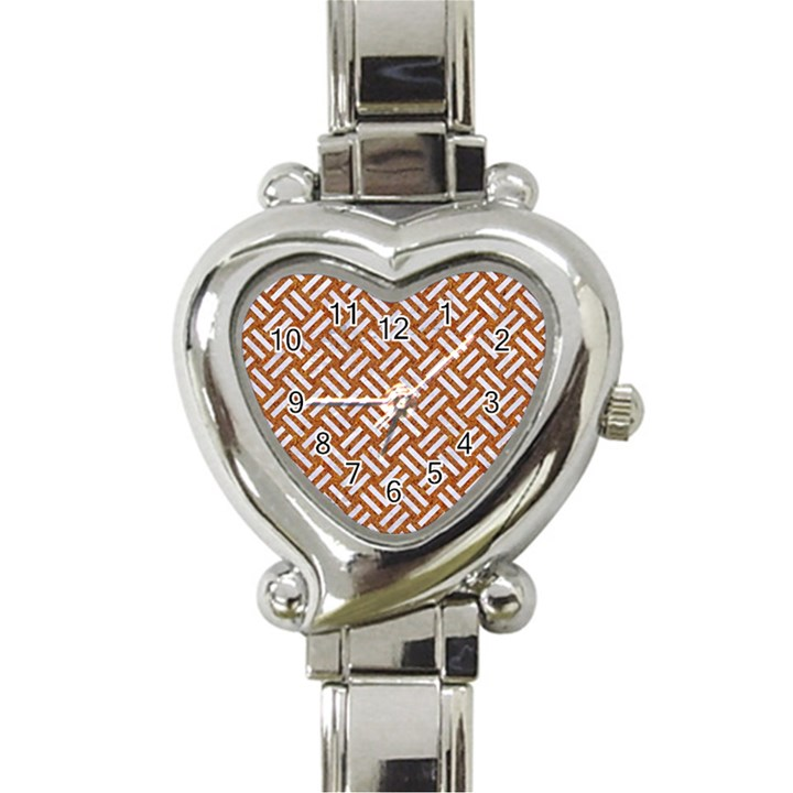 WOVEN2 WHITE MARBLE & RUSTED METAL Heart Italian Charm Watch